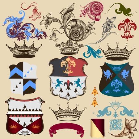 eagle shield and laurel wreath: Vector set of vintage elements for your heraldic design Illustration