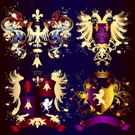 nobel: Vector set of vintage elements for your heraldic design Illustration