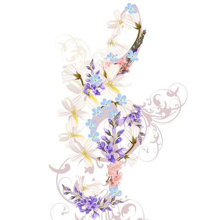 treble clef: Music treble clef decorated by flowers
