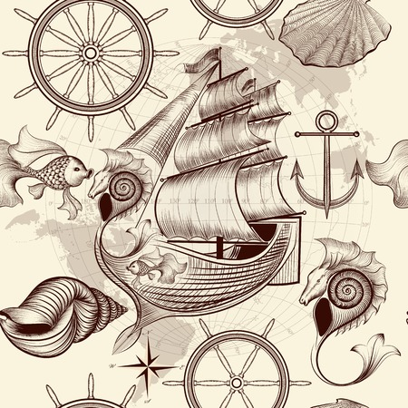 antique art: Vector seamless wallpaper design with old-fashioned fake ship and map