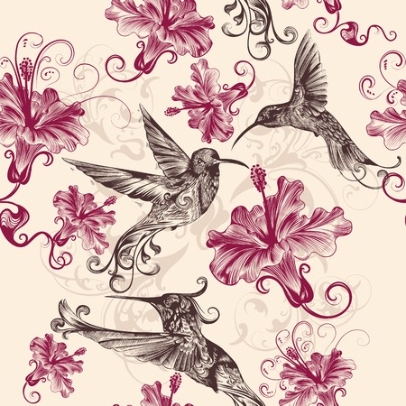 stylised: Vector seamless wallpaper pattern with birds and flowers