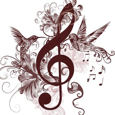 Vector patroon met vogel en muzieknoten