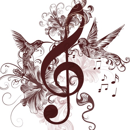 music notes vector: Vector pattern with bird and music notes