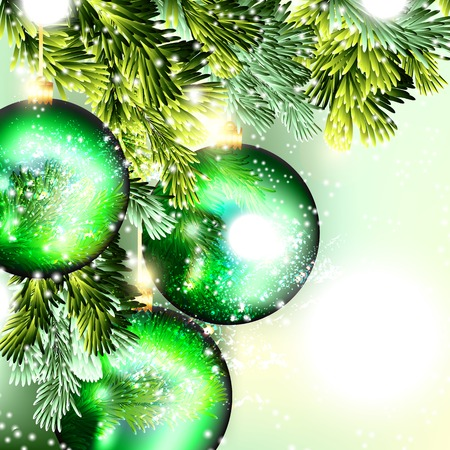 glimmered: Christmas background with baubles Illustration