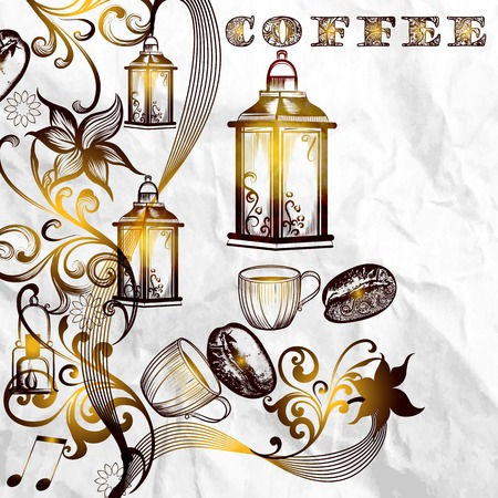 ethiopia: Coffee poster with hand drawn coffee grains on paper