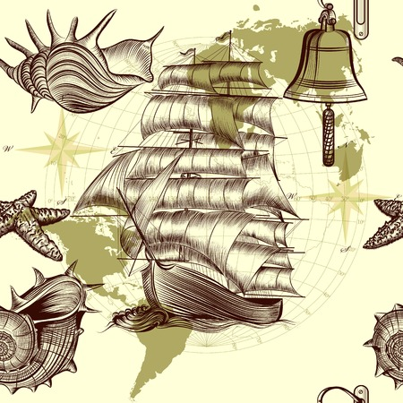 tripping: Vector seamless wallpaper design with oldfashioned ship and map Illustration