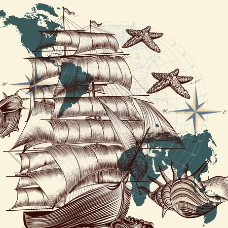 tripping: Vector background design with oldfashioned ship and map Illustration