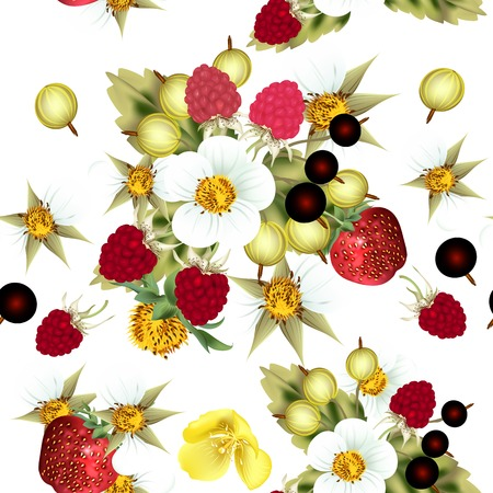 Vector seamless pattern for wallpaper design with berries Vector