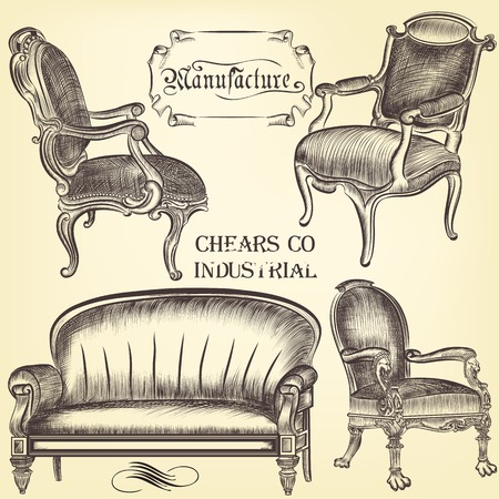 sitting sofa: Antique set of vector hand drawn chairs  in vintage style