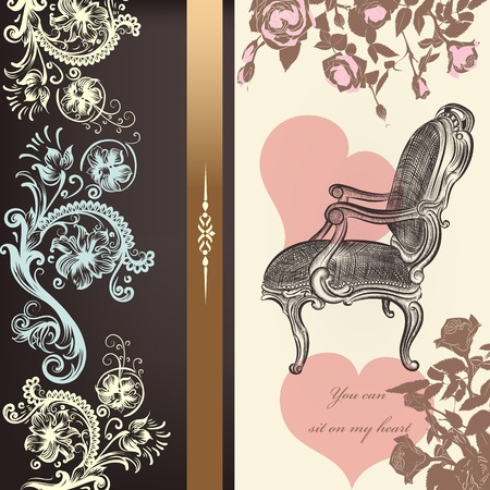 antique chair: Antique valentine card design with heart and chair