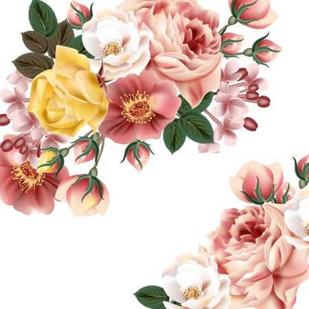 Bridal background with beautiful roses Çizim