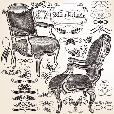 nobel: Collection of vector calligraphic flourishes and chairs Illustration
