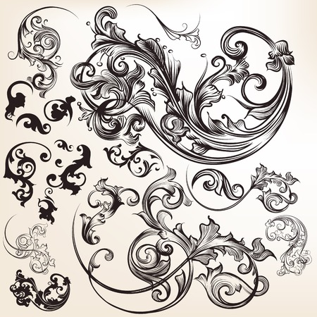 calligraphic: Collection of vector calligraphic flourishes and swirls Illustration