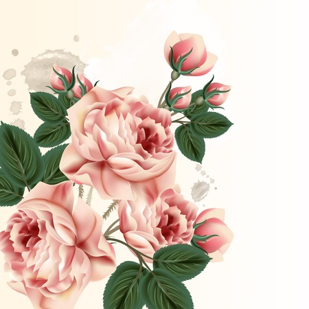 Floral background with pink pastel roses in vintage style