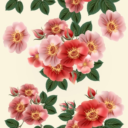 Flower wallpaper pattern with roses Vector