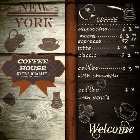 price list: Cafe or coffee house design on wooden texture with price list
