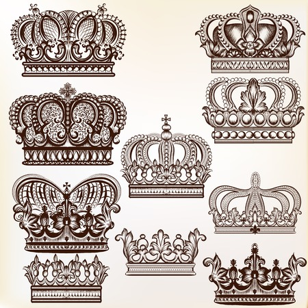 Collection of vector royal crowns for design Illustration