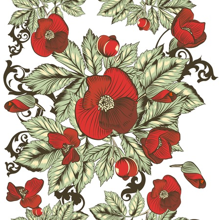 Floral seamless wallpaper pattern with red  flowers Vector