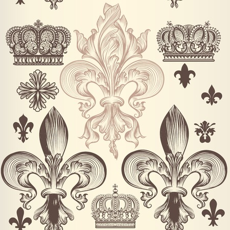 fleur de lis: Heraldic wallpaper pattern with fleur de lis and crowns