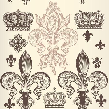nobel: Patr�n de papel tapiz her�ldico con la flor de lis y coronas Vectores