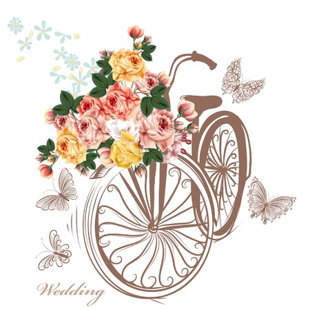 flower white: Bicycle with basket fully of rose flowers and butterflies around it Illustration