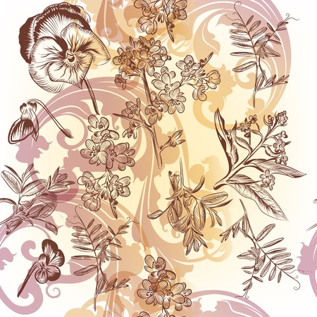 Floral seamless wallpaper pattern with flowers Vector