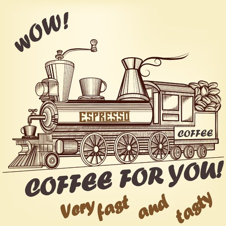 brewing house: Coffee retro advertising poster imitation with train used like coffee mill Illustration
