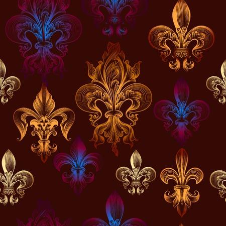 nobel: Heraldic seamless wallpaper pattern with fleur de lis