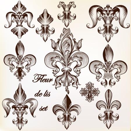 디자인을위한 벡터 로얄 백합 드 문양의 컬렉션 일러스트