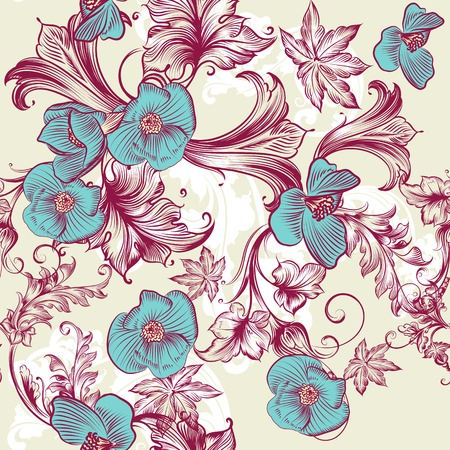Floral vintage pattern with flowers and ornament Vector