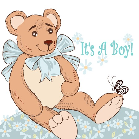 plush: Birthday greeting card with plush bear and flowers it is a boy