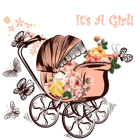 it girl: Birthday greeting card with childish pram and butterflies it is a girl