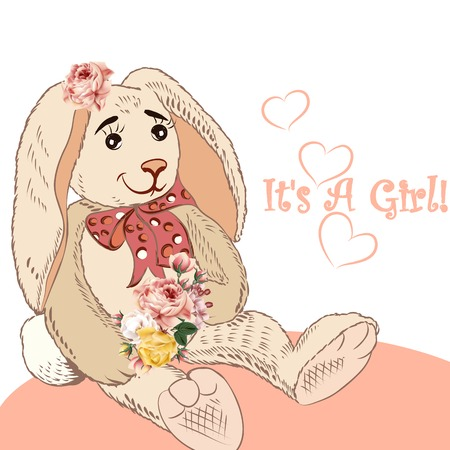 it girl: Birthday greeting card with plush hare and flowers it is a girl