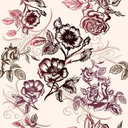 Floral vector pattern with roses for design Vector