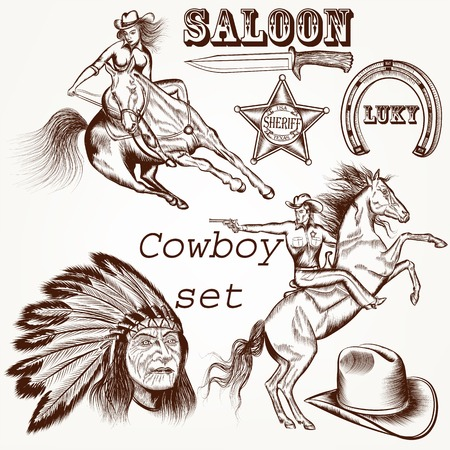west: Cowboy vector set west cowboy, Indian and sheriff star
