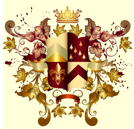 nobel: Heraldic coat of arms with shield, crown and ornament