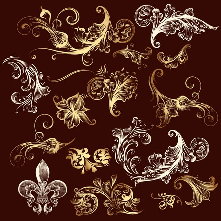 ornaments vector: Collection of vector ornaments in gold Illustration