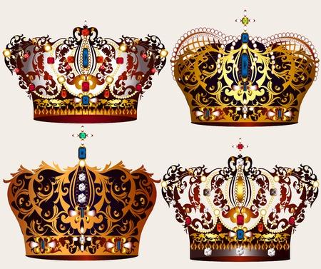 corona de reina: Colecci�n de las coronas del vector en oro con perlas y piedras Vectores