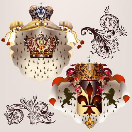 baroque pearl: Heraldic  set of vector designs with coat of arms, crowns and shield