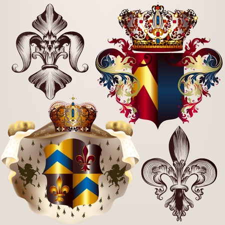 baroque pearl: Heraldic vector set of designs with coat of arms, crowns and shield