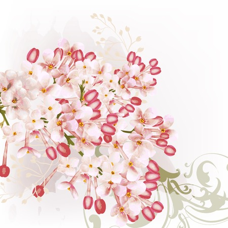 pink vintage: Beautiful floral background with lilac flowers in watercolor style Illustration