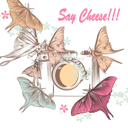 say cheese: Cute illustration with old-fashioned camera and butterflies say cheese