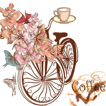 Cute coffee illustration with old-fashioned fake bicycle with basket fully of orchids and butterflies fly around it