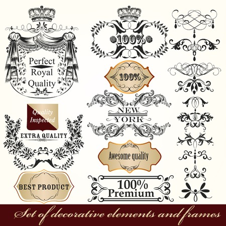 formal: Collection of vector calligraphic frames and design element in Victorian vintage style Illustration
