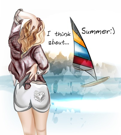 nice butt: Illustration with beautiful sexy girl standing back and watch on a sea and think about summer rest Illustration