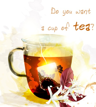 teabag: Cup of tea and teabag sunny and light vector illustration poster create in watercolor style with space for text