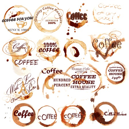 signatures: Collection of grunge brown coffee labels create from coffee cup spots with signatures