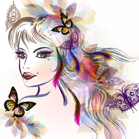 making face: Beautiful fairy girl with long hair and butterflies sit on it very bright illustration