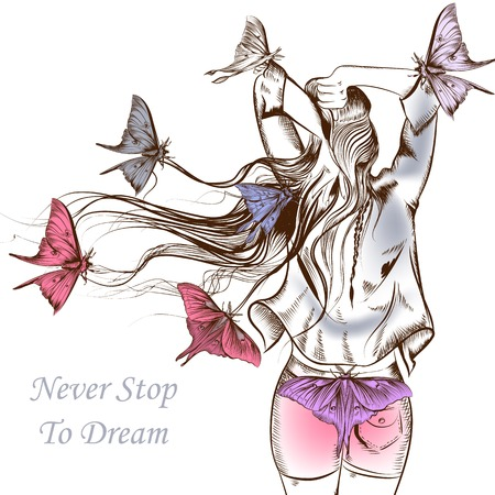 Fashion vector illustration butterflies and girl with a very long hair staying back Ilustracja