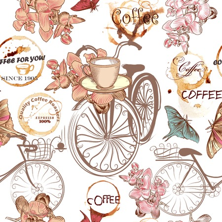 Coffee seamless pattern with bikes, cups, butterflies, coffee grunge spots and flowers